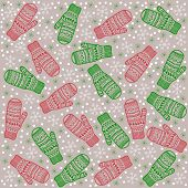 Christmas Background Mittens Kids