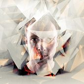 Stylized Artistic Young Man Portrait With Chaotic Polygons