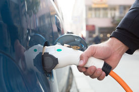 stock photo of electric station  - Power supply for electric car charging - JPG