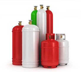 foto of gases  - Cylinders with the compressed gases on a white background - JPG