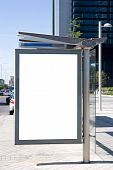 image of bus-shelter  - A blank bus stop billboard with ad space - JPG