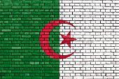 pic of algeria  - flag of Algeria painted on brick wall - JPG