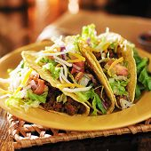picture of tacos  - three beef mexican tacos with cheese and lettuce - JPG