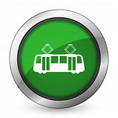 pic of tram  - tram green icon public transport sign  - JPG
