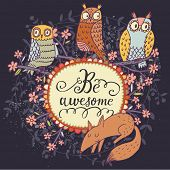 pic of owls  - Cute cartoon owls with lovely fox in vector with text in spring flowers - JPG