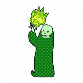 stock photo of ghoul  - retro comic book style cartoon waving halloween ghoul - JPG
