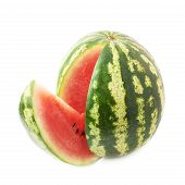 picture of watermelon slices  - Watermelon fruit with the single slice piece cut off - JPG