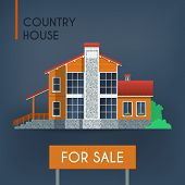 foto of red roof  - Country house with red roof vector illustration - JPG