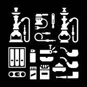 foto of shisha  - Set icons of smoking equipment and accessories isolated on black - JPG
