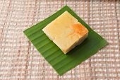 foto of custard  - Coconut custard made from eggs and coconut milk in white bowl on Fabric - JPG
