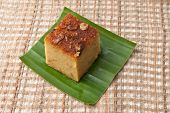"image of custard  - ""Mung Bean Thai Custard Dessert Recipe Khanom Maw Kaeng""(thai name) made with eggs and pumpkin Ancient thai dessert on fabric - JPG"