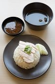 pic of thai food  - Khao mun kai is the Thai food gourmet steamed chicken with rice - JPG