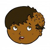 stock photo of ugly  - retro comic book style cartoon boy with ugly growth on head - JPG