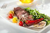 stock photo of rocket salad  - Roast Beef with Vegetables and Rocket Salad - JPG