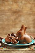 picture of easter candy  - Chocolate Easter eggs and rabbit on plate - JPG