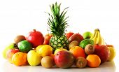 stock photo of exotic_food  - Assortment of exotic fruits isolated on white - JPG