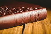 image of pentecostal  - Close up of bible on wooden table - JPG
