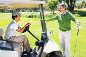 stock photo of buggy  - Happy golfing friends setting out for the day on buggy at the golf course - JPG