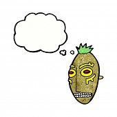 stock photo of cannibalism  - cartoon tribal mask with thought bubble - JPG