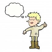 image of attitude boy  - cartoon poor boy with positive attitude with thought bubble - JPG