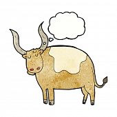 pic of oxen  - cartoon ox with thought bubble - JPG