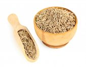 stock photo of cumin  - Cumin in wooden bowl - JPG