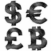 stock photo of currency  - Sketch of currency signs in doodle style - JPG