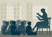 picture of storytime  - Illustration of a female teacher reading a story to her pupils sitting on the floor - JPG