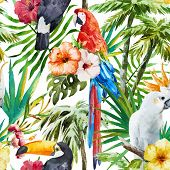 stock photo of tropical birds  - Beautiful vector pattern with nice watercolor tropical birds - JPG