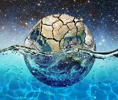 image of sky diving  - Planet Earth is submerged in water on the background of the starry sky - JPG