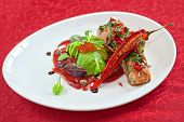 stock photo of cayenne pepper  - baked salmon with herbs and cayenne pepper - JPG