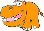 stock photo of hippopotamus  - Crazy hippopotamus Vector Illustration Art - JPG