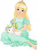 stock photo of princess crown  - Illustration of beautiful princess holds cute rabbit  - JPG