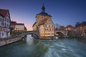 stock photo of regnitz  - City of Bamberg during sunset - JPG