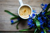 pic of vase flowers  - scilla siberica flowers in a vase and cup of coffee in rustic interior - JPG