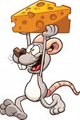 image of mouse  - Cartoon mouse carrying a big piece of cheese - JPG