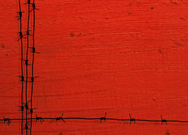 pic of barbed wire fence  - barbed wire frame with red grunge background - JPG