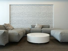 foto of couch  - Tranquil modern grey living room interior with comfortable corner couches - JPG