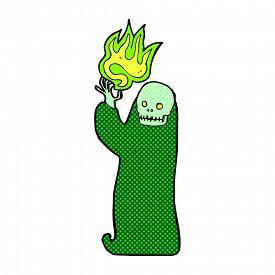 foto of ghoul  - retro comic book style cartoon waving halloween ghoul - JPG