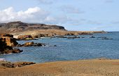 picture of plateau  - Oceanfront dry plateau formed of claylike sand overlooks the waters around the islet of Djeu in Cabo Verde - JPG