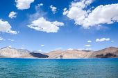 picture of jammu kashmir  - Pangong lake the highest salt water lake in the world at Ladakh Jammu and Kashmir state India - JPG