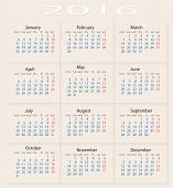 Постер, плакат: Calendar 2016