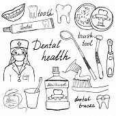 stock photo of toothpaste  - Dental health doodles icons set - JPG