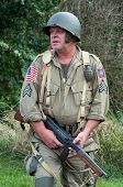 picture of sub-machine-gun  - American soldier with submachine gun second world war style - JPG