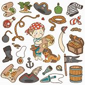 pic of pirate flag  - Vector set of pirate items - JPG