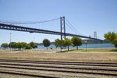 stock photo of bridges  - The 25th April bridge in Lisbon - JPG