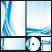 Abstract Wavy Lines Background Set