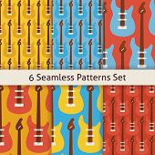Постер, плакат: Six Vector Flat Seamless Rock Music Instrument Guitar Patterns Set