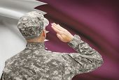 stock photo of qatar  - National military forces with flag on background conceptual series  - JPG