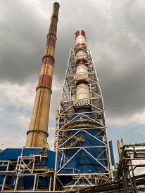 picture of combustion  - Various chimneys due to the different combustion technology and emission reduction - JPG